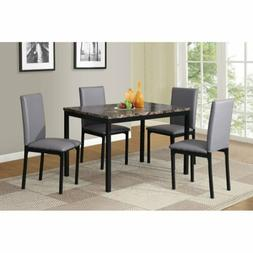 Black White Brown Gray 5 pc Dining Table Set Faux Marble Lea