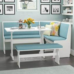 Blue Cushion 3 Piece Breakfast Nook Dining Seating Set Home