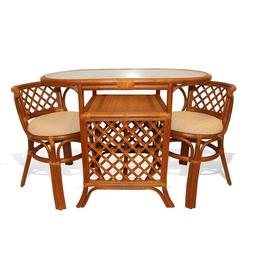 Borneo Rattan Wicker Dining Set of  2 Chairs Oval Table with