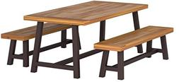 Christopher Knight Home 298403 Bowman Wood Outdoor Picnic Ta