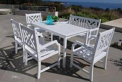 Vifah Bradley V1336SET23 6 PC Outdoor Dining Set with 1 Rect
