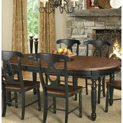 A-America British Isles Oval Extendable Dining Table in Blac