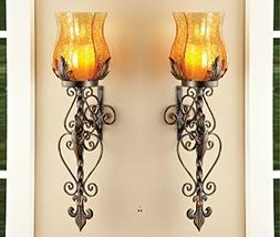 Set of 2 Bronze Elegant Scrollwork Decorative Hurricane Ambe
