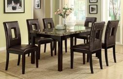 Brown faux marble dining table With 6 brown Chairs