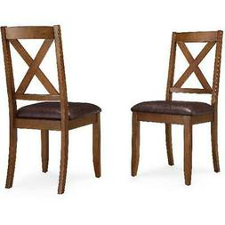 Brown Finish Maddox Crossing Stylish Dining Chair Set of 2 D