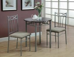 Brown Silver 3 pc Dining Table Set 2 Chairs Kitchen Bistro B