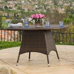 Outdoor Brown Wicker Round Dining Table