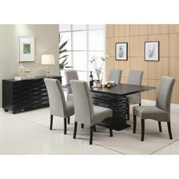 Brownville 7 Piece Dining Table Set in Rich Black with Gray