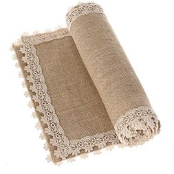 Ling's moment 12x72 Inch Burlap Cream Lace Hessian Table Run