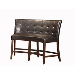 Domusindo Button Tufted Counter Height Banquette in Black Le