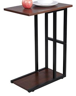 GIA C Shape Side End Table - Sofa Height -Faux Reclaimed Woo