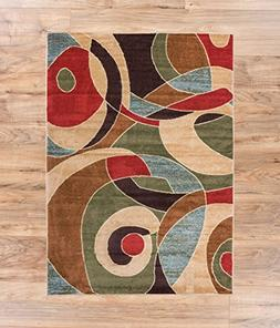 Calm Chaos Multi Red Modern Casual Geometric 2x4  Easy to Cl