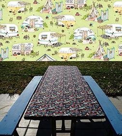 C&ing Table Cover - Green Picnic Tablecloth - Elastic Tabl & Camping Table Cover - Green Picnic Tablecloth -
