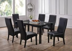 Kings Brand 7-Piece Cappuccino Finish Wood With Glass Dining