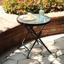 "Captiva Designs 18"" Patio Small Side Table-Little Folding Gl"
