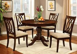 Carlisle Country Style 5 PC Dining Set Round Table w/ Fabric