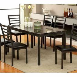 Furniture of America Casella Faux Marble Top Dining Table, 6