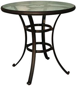 "Darlee Cast Aluminum Glass Top Round Bar Table, 42"", Antique"