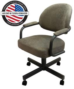 Casual Rolling Caster Dining Arm Chair with Swivel and Tilt