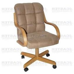 Casual Rolling Caster Dining Arm Chair w/ Swivel Tilt
