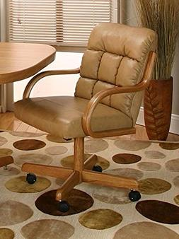Casual Rolling Caster Dining Chair with Swivel Tilt in Oak W