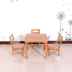 Children Bamboo Table and 2 Chairs Set Home School Toddler K