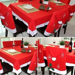 Christmas Tablecloth + 6 PCS Santa Hat Chair Covers for Dini