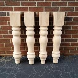 Chunky Unfinished Farmhouse Dining Table Legs- Set of 4 Turn