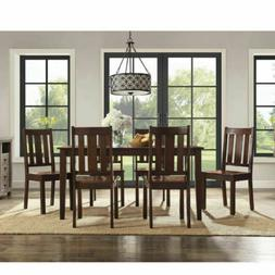 7 Piece Dining Set Table and 6 Chairs Classic Mission Style