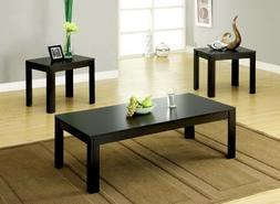 Coffee Table 2 End Tables Side 3 Piece Set Modern Black Furn