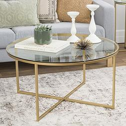 "WE Furniture 36"" Coffee Table with X-Base - Glass/Gold"