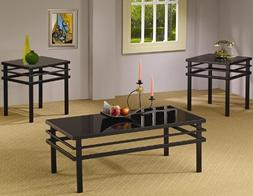 3pc Coffee Table Set with Black Glass Top in Black Metal Bas