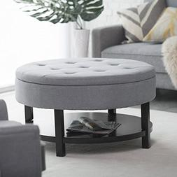 Belham Living Coffee Table Storage Ottoman with Shelf -
