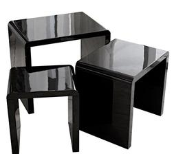 LSCING Collection Stackable Glossy Finish 3-Piece End Table