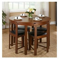 Compact Dining Set 5 Piece Round Walnut Kitchen Small Table