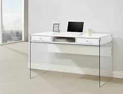 Coaster Computer Desk In Glossy White Finish 800829