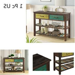 Console Sofa Table for Entryway Bathroom with Drawers and 2