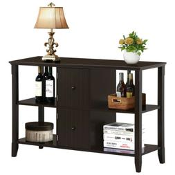 Console Table w/2 Grooved Cubby Storage Cabinet for Living R