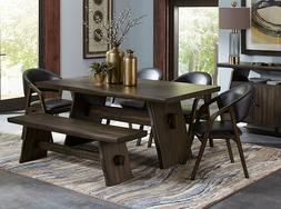 Contemporary Brown 6 pieces Dining Room Rectangular Table Be