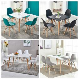 Contemporary Dining Set Table & 4 Chairs Set Wood Legs Dinin