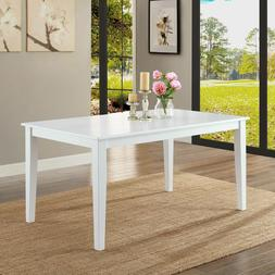 White Wooden Rectangular Dining Table Contemporary Home Offi