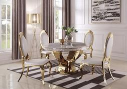 CONTEMPORARY MARBLE & GOLD ROUND DINING TABLE CREAM CHAIRS F