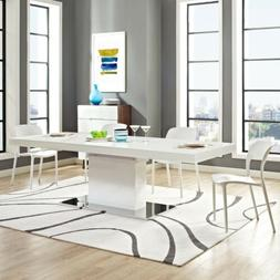 Modway EEI-2870-WHI-SLV Vector Expandable Dining Table, Whit