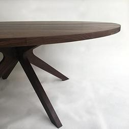Contemporary Modern Solid Walnut Round Dining Table with Mod