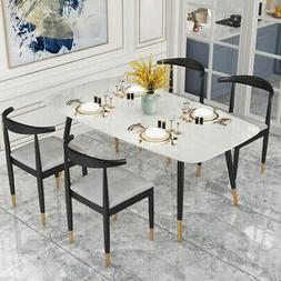 """""""Contemporary Modern White Marble 5Pc  Dining Set-Table & Fo"""