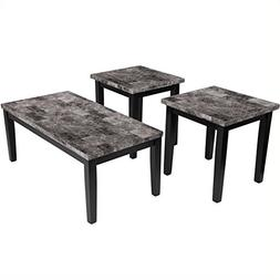 3-Pc Contemporary Occasional Table Set in Black Finish