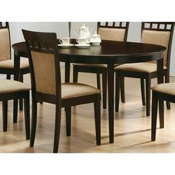 Contemporary Oval Dining Table in Dark Brown Cappuccino Wood