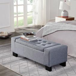 """Contemporary Upholstered Tufted Top Fabric 48"""" Storage Ottom"""