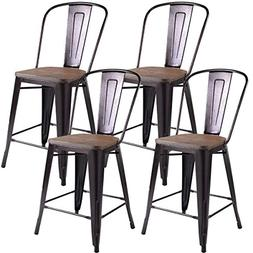 COSTWAY Tolix Style Dining Stools with Wood Seat and Backres