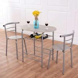 Costway 3 Piece Dining Set Table 2 Chairs Bistro Pub Home Ki